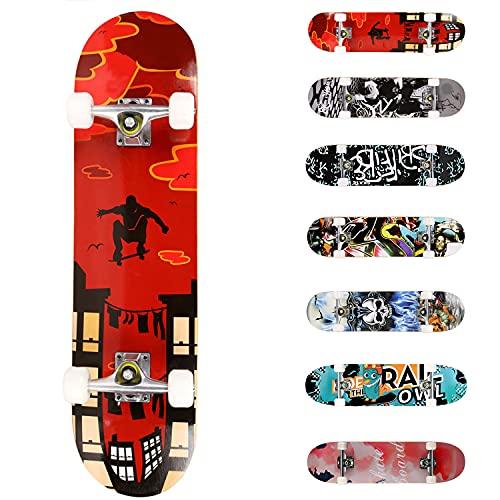 WeSkate Completo Skateboard per Principianti, 31'' x 8'' 7 Strati di Acero Double Kick Deck Concavo Skate Board per Bambini Adolescenti Giovani Adulti Ragazze Ragazzi (Rosso)