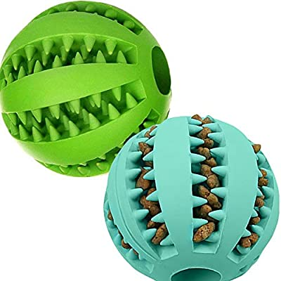 Dog Treats Toy Ball for Small Dogs 2 Pack Durable Pet Dog IQ Puzzle Chew Toys Interactive Dog Teething Cleaning Toys Outdoor Chase Feeder Toy for Playing Dispensing Reducing Boredom(2.8 Inch)