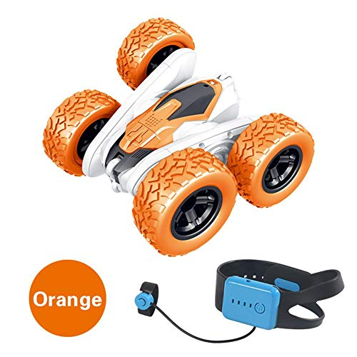 Telecomando auto RC Cars Stunt Car Toy Rotating Vehicles Toys 2.4Ghz Off Road Car Toy with Watch Shape Remote Control Colore: arancione.