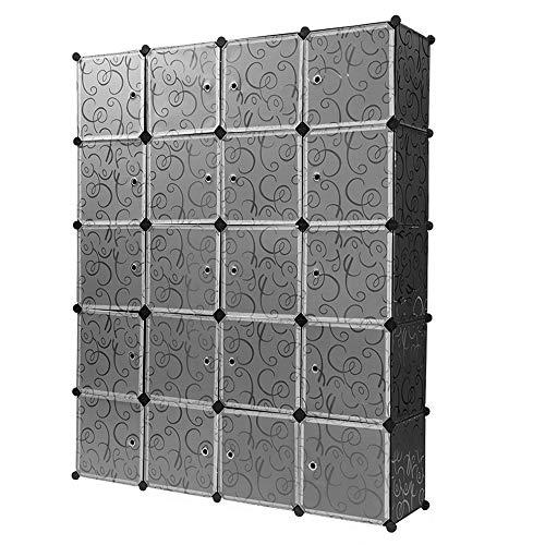 Turefans 20 Cubos, Armario Modular, Armario portátil, Armarios de Dormitorio, Bricolaje, Ropa de Almacenamiento, artículos, 147 * 37 * 183cm