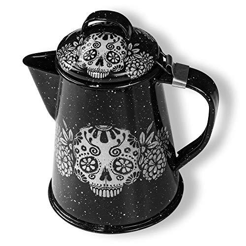 Emaille-Kaffeekanne, schwarzes Totenkopf-Design, entworfen von mexikanischer Künstlerin (Maritza Morillas), 15 cm hoch, 473 ml