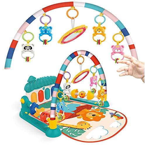 AJAMQ Spieldecke, Rainforest Erlebnisdecke, Baby Krabbeldecke Musik, Lichtern Und Weichem Spielbogen Tragbare Baby Krabbeldecke,Rot