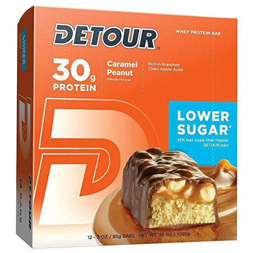 Detour Lower Sugar Whey Protein Bar, Caramel Peanut, 3 Ounce (Pack of 12)