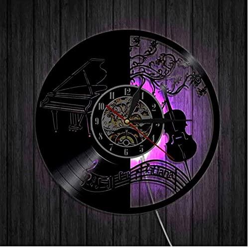 Notas Musicales Guitarrista Guitarra Instrumento Reloj de Pared Disco de Vinilo Reloj de Pared Casa Reloj de Pared Decorativo-LED