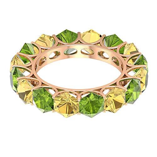 Anillo de eternidad completo, anillo de peridoto hexagonal de 4 ct, anillo alternativo de 4 ct 5 mm citrino, anillo de boda único, anillo de aniversario de mujer, 14K Oro rosa, Size:EU 61