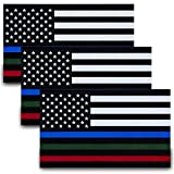 Besby 3pcs Reflective US Flag Stickers, Thin Line Blue Green and Red Stripe, 5'x3' Vinyl American Flag Car Decal, Support American Police Military Fire Officers, EMT and Troops