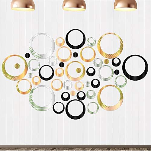 72 piezas Pegatinas Pared Espejo Redondo Redondo de Espejo Hojas Espejos Adhesivos Acrílico Decoración Vinilos Adhesivos de Acrílico Decorativas DIY Decorar Hogar Habitación Dormitorio