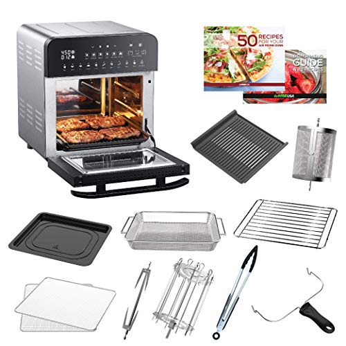 GoWISE USA 14.7-Quart Air Fryer Grill with Dual Heating Elements & Oven with Rotisserie, Dehydrator, Preheat and Broil Functions + 11 Accessories with 2 Recipe Books (Stainless Steel/Black), Ultimate