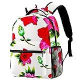 Ink Cherry Blossom - Mochila para estudiantes, mochila escolar, adorable bolsa de libros con bolsillos laterales para niño y adolescente, Multicolor 06,