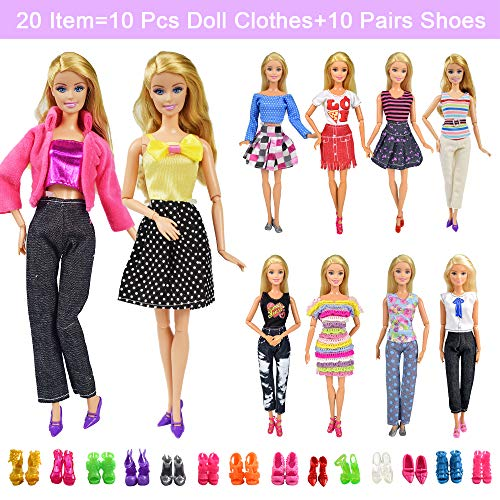 20 Items 10 Pcs Fashion Handmade Doll Clothes Set Outfits Party Dress...