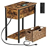 Rolanstar End Table with Charging Station & Rattan Basket, Narrow End Table with Drawer and USB Ports for Living Room, Nightstand Sofa Table for Bedroom Rustic Brown