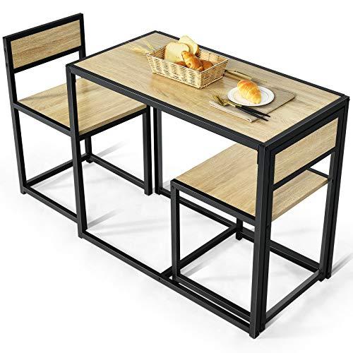 COSTWAY 3 TLG. Küchenbar, Stehtisch mit 2 Barstühlen, Küche Sitzgruppe, Essgruppe mit Metallgestell, Küchentisch aus Holz, Bartisch Set für kleine Räume, Küche, Esszimmer und Bistro (Natur)