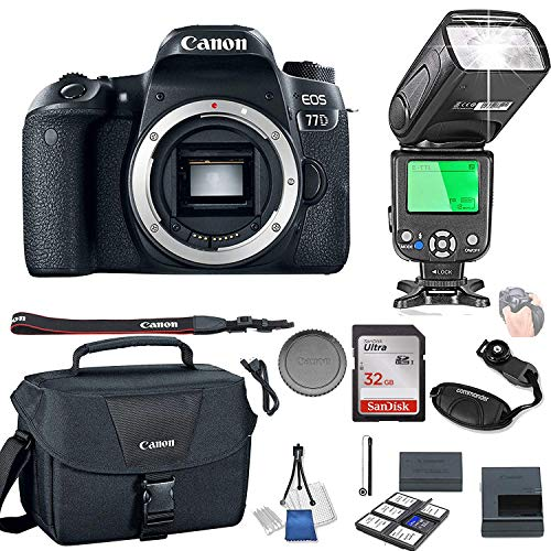 Canon EOS 77D Body Only + 32GB Memory + Camera Bag + TTL Speed Light + Value Kit