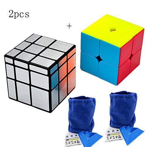 Cubo De Rubik 3x3Cubos De Rubik 2x2+2 Expositores Triangulares +2 Bolsas De Almacenamiento Parabrisas Plateado, Cubo De Velocidad Irregular Cubo De Velocidad Caja Torcida Rompecabezas