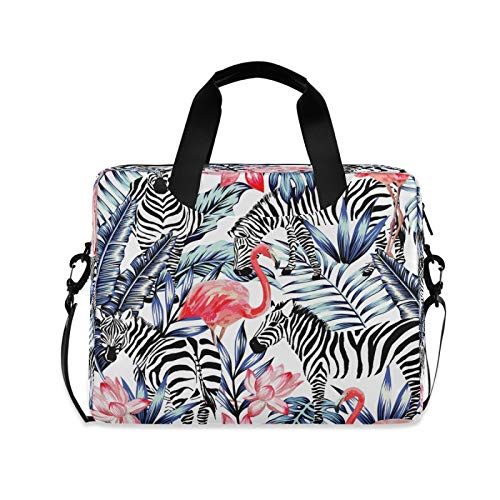 Laptop Case 15.6 inch with Handle Flamingo Zebra Laptop Bag Palm Leaf Computer Cases Multi-functional Notebook Sleeve, Carrying Case with Strap