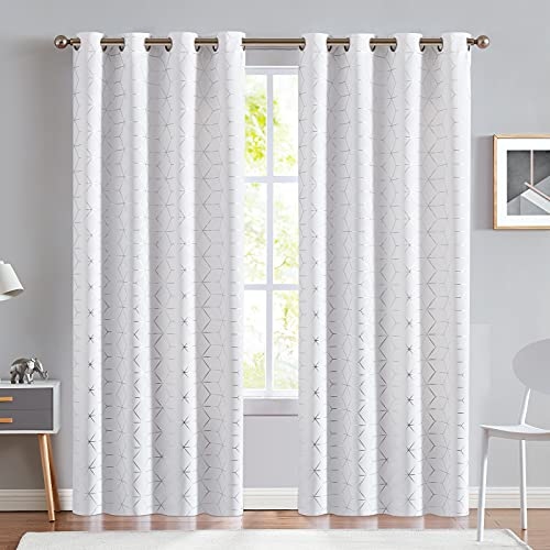 jinchan Silver Solid Diamond Curtain Foil Print Grommet Room Darkening Soft Sturdy Thermal Insulated Shades for Teens Kids Bedroom Living Room Nursery 84 Inches Length 2 Panels White
