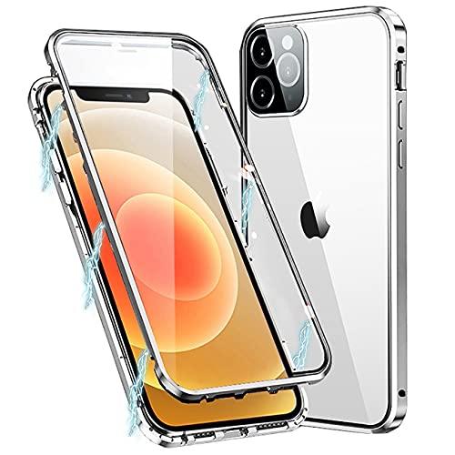 MIMGOAL Cover per iPhone 11 Pro Max, Magnetica Custodia [Cornice Metallica][Doppio Vetro Temperato] 360 Gradi Full Body Trasparente Case for iPhone 11 Pro Max, Argento