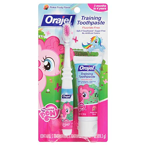 Orajel Toddler My Little Pony Training Toothpaste With Toothbrush, Pinky Fruity - 1 Oz(Pack Of 2)