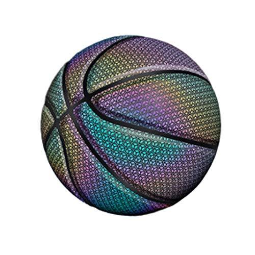 TOMMY LAMBERT Basketball, leuchtet Regenbogenfarben, leuchtendes PU-Leder, reflektierender Basketball mit Aufbewahrungstasche, Größe Nr. 7 Ball, neon