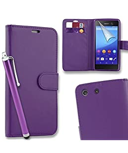 Connect Zone PU Leather Flip Wallet Case Cover Pouch for Sony Xperia M5 with Screen Protector, Polishing Cloth - Purple + Tall Stylus