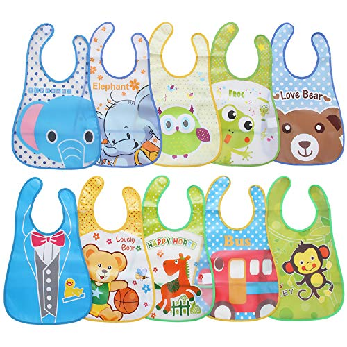 Adorel Jungen Baby-Lätzchen Wasserdicht Abwaschbar mit Klettverschluss Auffangsschale 10er-Pack