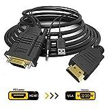 JBingGG HDMI to VGA、金メッキHDMIからVGAケーブル(男性から男性)オーディオ対応コンピュータ、デスクトップ、ノートパソコン、PC、モニタ、プロジェクタ、HDTV、ラズベリーパイ、ロク、Xbox 1.8m