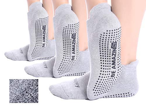Non-Slip 3 Pairs Grey Yoga Socks Barre Pilates Hospital Maternity Sock w/ Grips For Women Men