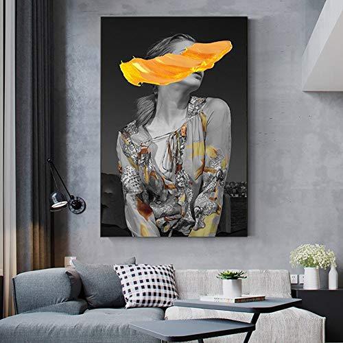 wZUN Pintura en Lienzo, Carteles de Retrato nórdico e Impresiones, Sala de Estar, Abstracta, Sexy, para Mujer, Foto de Pared, decoración del hogar 60x90 Sin Marco