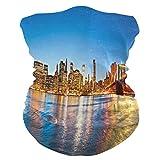 SunsetTrip New York Brooklyn Bridge Bandana multifunzione Bandana Sciarpa viso polvere UV maschera collo ghaiter archetto copricapo fazzoletto per sport escursionismo corsa moto