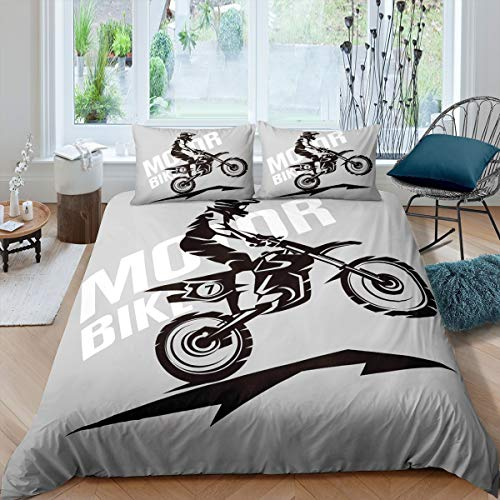 Loussiesd 3D Dirt Bike Comforter Cover Set for Kids Teen Man Extreme Sports Theme Duvet Cover Motocross Racer Printed Bedding Set Motorcycle Quilt Cover Bedroom Decor 2Pcs Bedcloths Single Size Gray