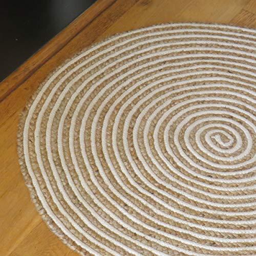Purity Alfombra Redonda de algodón Natural y Yute Trenzado en Espiral (90 cm x 90 cm)