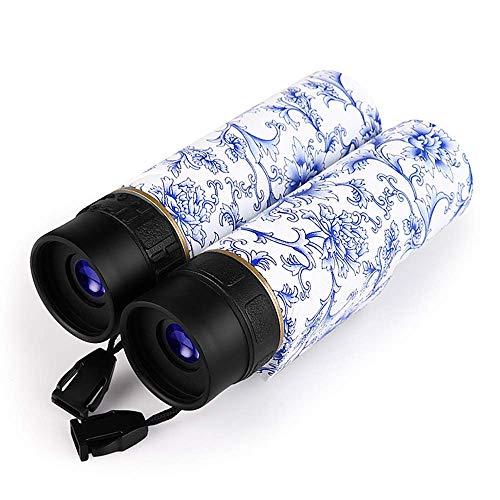 Binocolo Tascabile 10X25 Binocolo Cinese con Stampa in Stile Porcellana Blu e Bianca Telescopio Ottico con Zoom HD con Visione Notturna per Campeggio Escursionismo Caccia Birdwatching