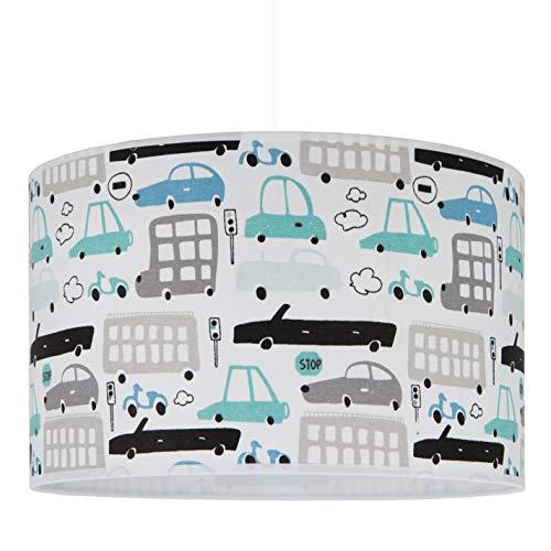 youngDECO Lampe für Baby- und Kinderzimmer, Autos, 2xE27, Ø38cm großer Lampenschirm aus Textil, Kinderzimmer-Deko für Junge, komplette Deckenlampe für Kinderzimmer, hergestellt in der EU