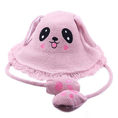 Bestmaple - Sombrero de Paja con diseño de Pescador de Dibujos Animados, Sombrero de Verano para la Playa, protección Solar con Orejas de Conejo movibles, Regalo para niñas, Color Rosa