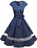 Gardenwed 1950er Vintage Retro Rockabilly Kleider Petticoat Faltenrock Cocktail Festliche Kleider Cap Sleeves Abendkleid Hochzeitkleid Navy Small White Dot Dot M