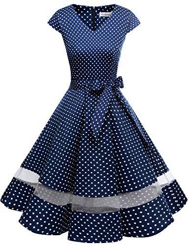 Gardenwed 1950er Vintage Retro Rockabilly Kleider Petticoat Faltenrock Cocktail Festliche Kleider Cap Sleeves Abendkleid Hochzeitkleid Navy Small White Dot Dot S