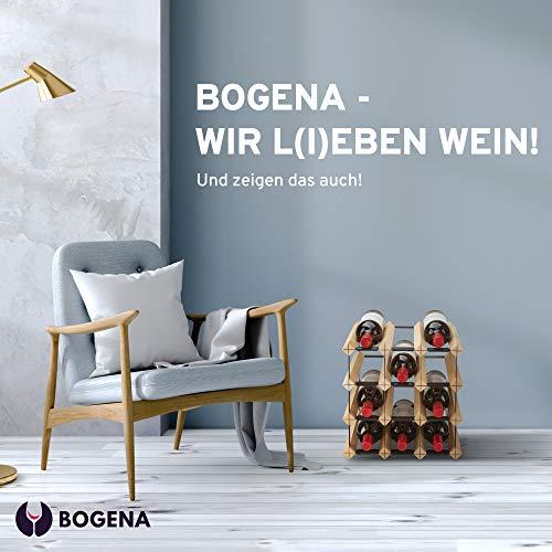 BOGENA® aus Holz - im einzigartigen Design - in 3 Varianten erhältlich - stabil, langlebig & modern - Elegantes Flaschenregal für Ihre heimische Weinsammlung (12 Flaschen) - 6