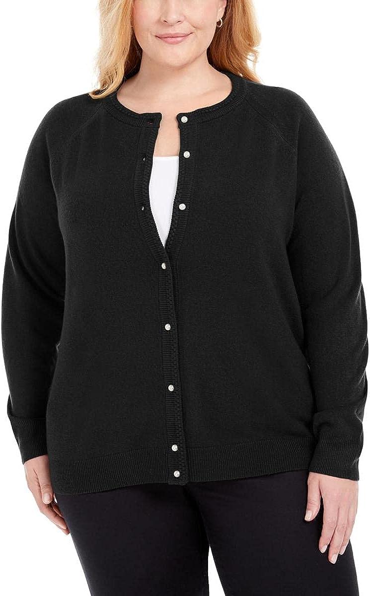 Karen Scott Womens Plus Ribbed Trim Crewneck Cardigan Sweater Black 1X