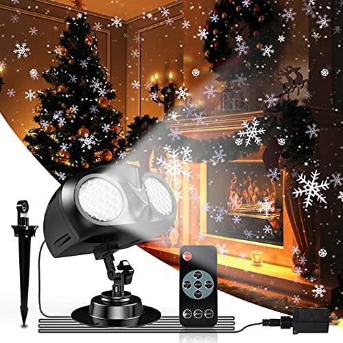 Lampada di Natale Proiettore LED, Proiettore Luci Natale LED, Caduta Della Neve Proiettore con Telecomando, per Natale, esterno, impermeabile, IP65, per interni ed esterni, feste, matrimoni