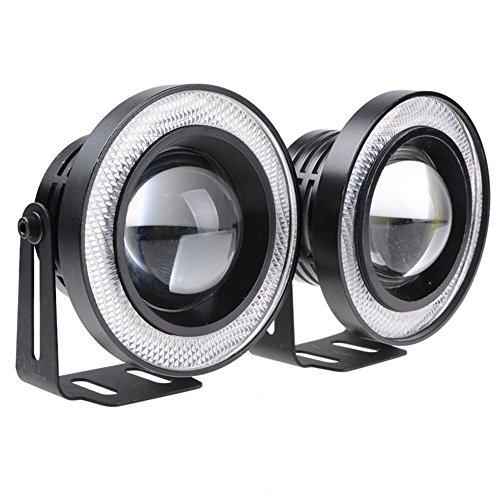 2 pcs haute puissance 8,9 cm Vidéoprojecteur universel LED Feu de brouillard Blanc/bleu/rouge COB Halo Angel Eye Anneaux
