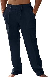PASLTER Mens Casual Linen Pants Loose Fit Straight-Legs Elastic Drawstring Waist Summer Beach Long Pant