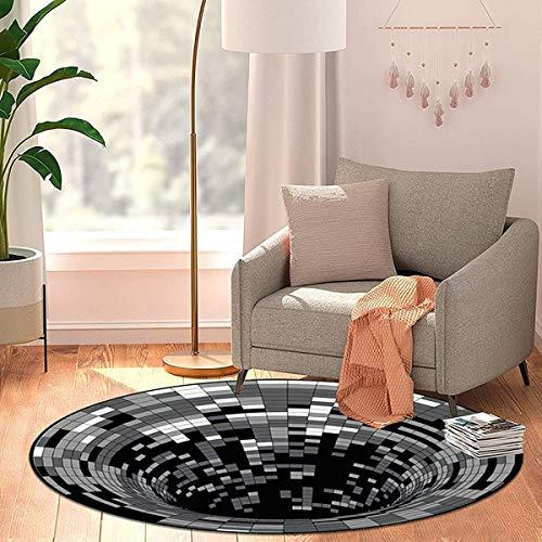 HCXIN - Tappeto 3D, effetto ottico 3D, rotondo, con illusione visiva, antiscivolo, per soggiorno, camera da letto (60 x 60 cm)