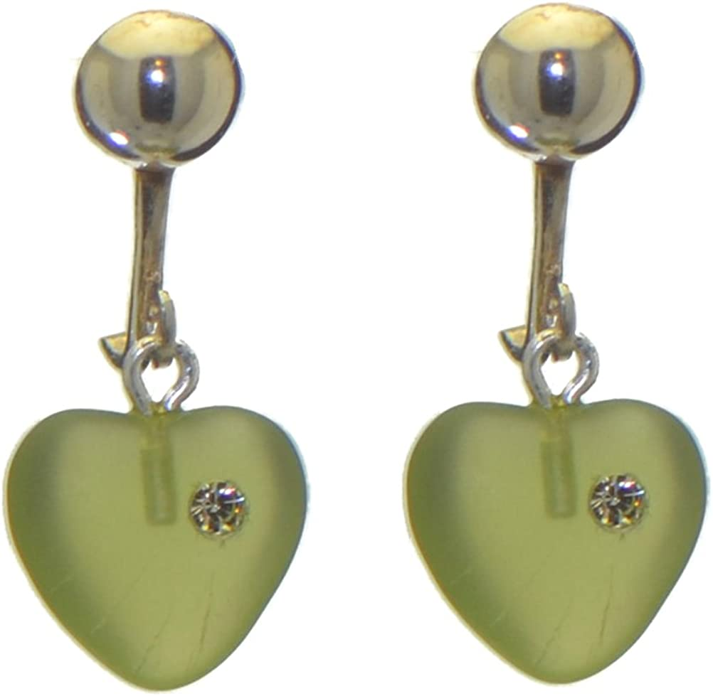 CORAZON green pressed glass heart with inset crystal clip on earrings