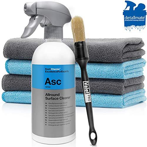 detailmate Autopflege Set: Koch Chemie - ASC - All Surface Cleaner - 500 ml - Reiniger für alle Oberflächen + 4 Premium Mikrofasertücher + ValetPRO Dash Brush No. 10 Pinsel für Autoreinigung