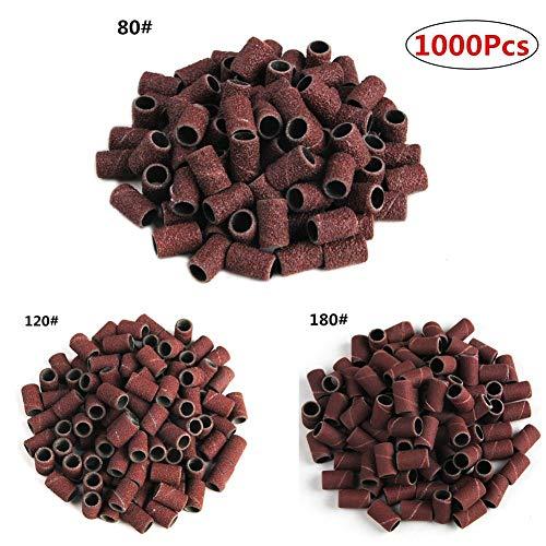 GPOKD schuurpapier - 1000 stuks drumschuurset 80# 120# 180# nagelboren Schacht Rotary Tools Dremel-accessoires Schuurpapier Gereedschapbits voor Dremel-nagel, 80