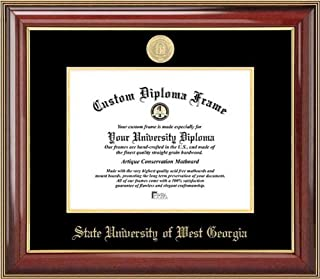 Laminated Visuals State University of West Georgia Wolves - Gold Medallion - Mahogany Gold Trim - Diploma Frame
