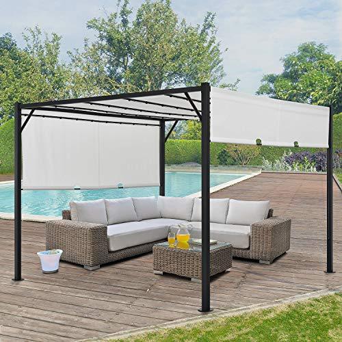 ArtLife Pavillon Cavo 3 × 4 m Creme – Pergola mit LED Beleuchtung & Flachdach – Sonnenschutz Garten Terrasse – Terrassenüberdachung Stahl-Gestell