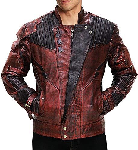 Fashion_First - Giacca e pantaloni da uomo con 2 stelle Lord Chris Pratt Peter Quill in pelle marrone Star Lord - Giacca in ecopelle effetto invecchiato XXL