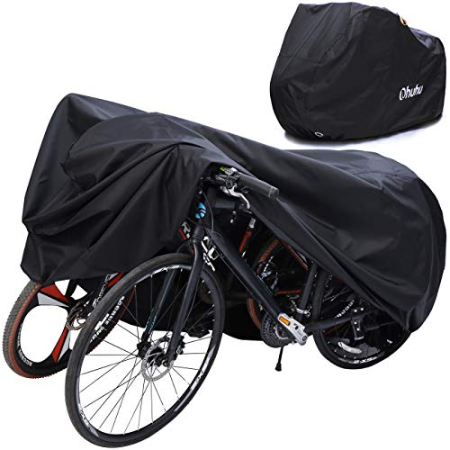 Ohuhu Bike Cover Waterproof XL/XXL for 2 or 3 Bikes Outdoor Storage Windproof Bicycle Covers for Mountain Bike Road Bike (XX-Large for 3 Bikes)