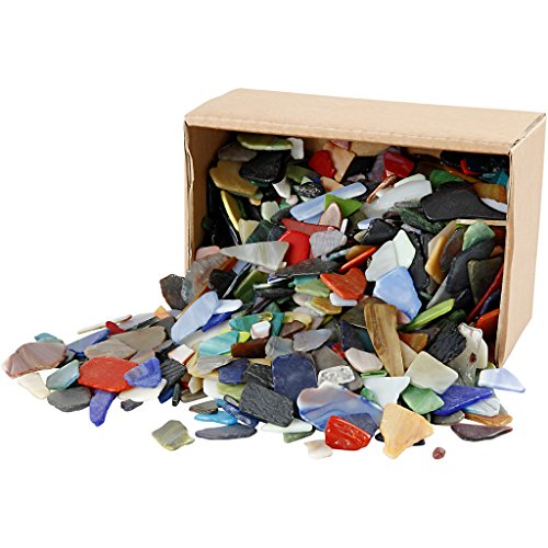 Creativ 55548 mosaik, storlek 15–60 mm, tjocklek 5 mm, olika färger, blandade färger, 2 kg